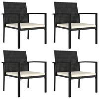 vidaXL Градински трапезни столове, 4 бр, полиратан, черни