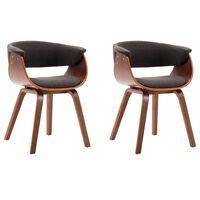 vidaXL Трапезни столове, 2 бр, сиви, извито дърво и текстил