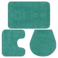 vidaXL Комплект постелки за баня, 3 бр, текстил, тюркоаз