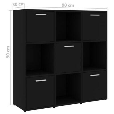 vidaXL Шкаф библиотека, черен, 90x30x90 см, ПДЧ