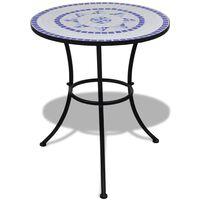 vidaXL Бистро маса, синьо и бяло, 60 см, мозайка