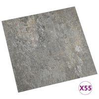 vidaXL Самозалепващи подови дъски, 55 бр, PVC, 5,11 м², сиви