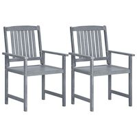 vidaXL Градински столове, 2 бр, сиви, акация масив