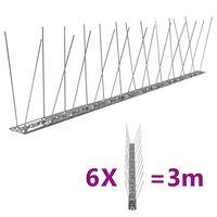 vidaXL 2-редови иноксови шипове срещу птици и гълъби, 6 бр, 3 м