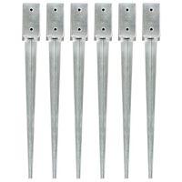 vidaXL Заземителни колове 6 бр сребристи 7x7x75 см поцинкована стомана