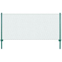 vidaXL Ограда от телена мрежа с колчета, стомана, 25х0,5 м, зелена