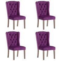 vidaXL Трапезни столове, 4 бр, лилави, кадифе