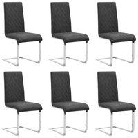 vidaXL Конзолни трапезни столове, 6 бр, черни, изкуствена кожа