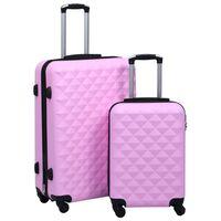 vidaXL Комплект твърди куфари с колелца, 2 бр, розов, ABS