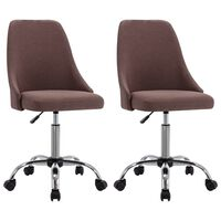 vidaXL Офис столове на колелца, 2 бр, таупе, текстил