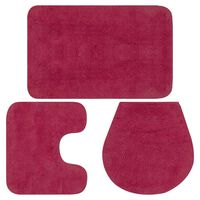 vidaXL Комплект постелки за баня, 3 бр, текстил, фуксия