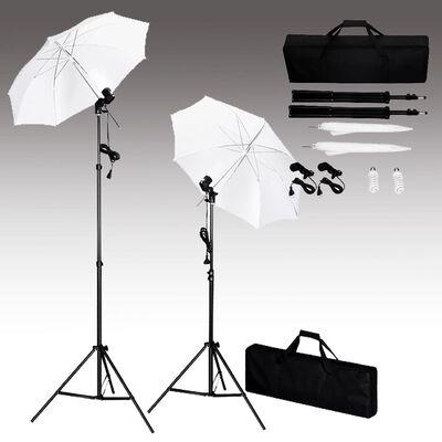 vidaXL Комплект за фото студио с фонове, лампи и чадъри