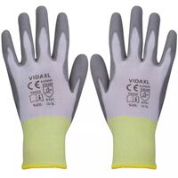 vidaXL Работни ръкавици, PU, 24 чифта, бяло и сиво, размер 10 / XL