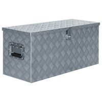 vidaXL Алуминиева кутия, 90,5x35x40 см, сребриста