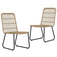 vidaXL Градински столове, 2 бр, полиратан, дъб