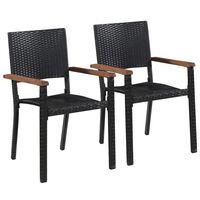 vidaXL Външни столове, 2 бр, полиратан, черни