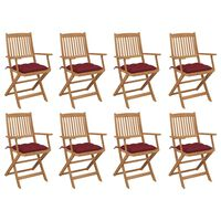 vidaXL Сгъваеми градински столове с възглавници 8 бр акация масив