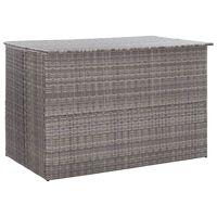 vidaXL Градински сандък за съхранение, сив, 150x100x100 cм, полиратан