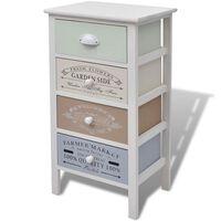 vidaXL Шкаф за съхранение във френски стил, 4 чекмеджета, дърво