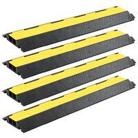 vidaXL Защитни рампи за кабели, 4 бр, 2 канала, гума, 101,5 см