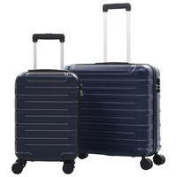 vidaXL Комплект твърди куфари с колелца, 2 бр, нейви, ABS