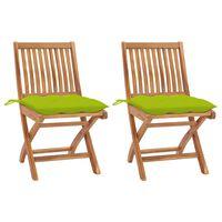 vidaXL Градински столове 2 бр светлозелени възглавници тик масив