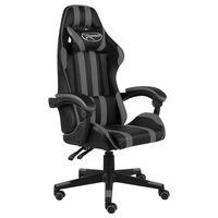vidaXL Геймърски стол, черно и сиво, изкуствена кожа