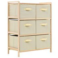 vidaXL Шкаф за съхранение, 6 кошници от текстил, дърво кедър, бежов