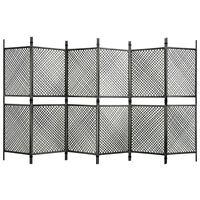 vidaXL Параван за стая, 6 панела, полиратан, антрацит, 360x200 см