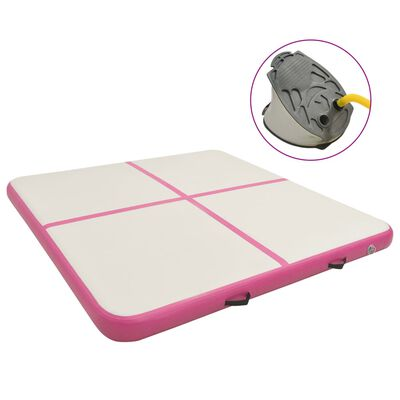 vidaXL Надуваем дюшек за гимнастика с помпа, 200x200x10 см, PVC, розов