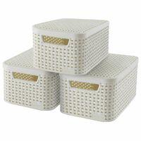 Curver Кутии за съхранение с капак Style, 3 бр, размер S, бели, 240586