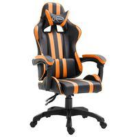 vidaXL Геймърски стол, оранжево, изкуствена кожа