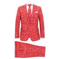vidaXL Мъжки коледен костюм с вратовръзка, 2 части, размер 52, червено