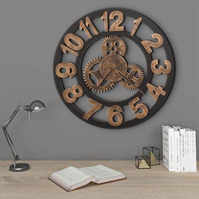 vidaXL Стенен часовник, метал, 58 см, златисто и черно