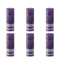 Bolsius Свещи рустик колони, 190x68 мм, лилави, 6 бр