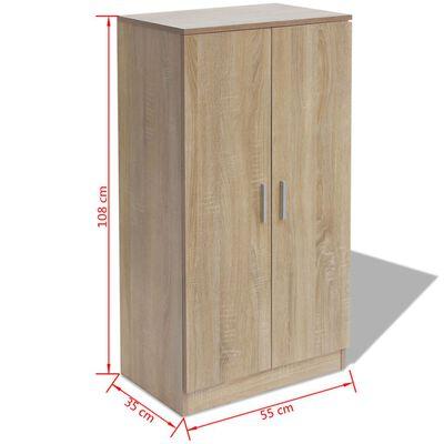 vidaXL Шкаф за обувки, 7 рафта, дъб