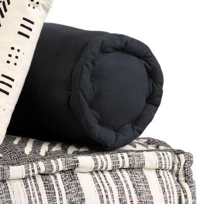 vidaXL 2-местен модулен пуф, сиви ивици, текстил