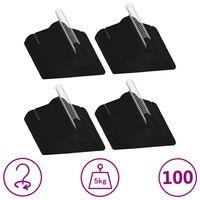 vidaXL 100 бр Комплект закачалки за дрехи антиплъзгащи черно кадифе