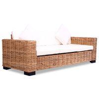 vidaXL 3-местен диван, естествен ратан