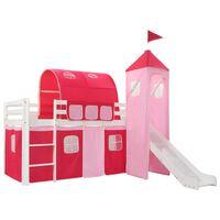 vidaXL Високо детско легло с пързалка и стълба, бор, 208x230 см
