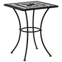 vidaXL Мозаечна бистро маса, черно и бяло, 60 см, керамика