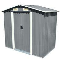 vidaXL Градинска барака за съхранение, сива, метал, 204x132x186 см