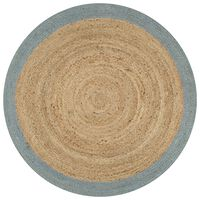 vidaXL Ръчно тъкан килим от юта, маслиненозелен кант, 120 см