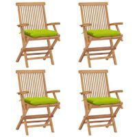 vidaXL Градински столове с яркозелени възглавници 4 бр тик масив