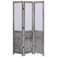 vidaXL Параван за стая, 3 панела, сив, 105x165 cм, текстил