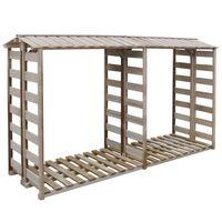vidaXL Навес за дърва за огрев, 300x90x176 cм, импрегниран бор