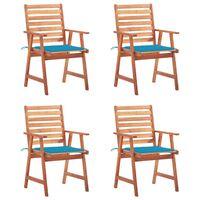 vidaXL Градински трапезни столове, 4 бр, с възглавници, акация масив