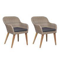 vidaXL Външни столове с възглавници, 2 бр, полиратан, кафяви