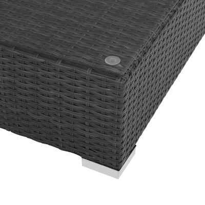 vidaXL Градински комплект с възглавници, 7 части, полиратан, черен