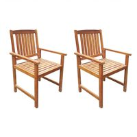 vidaXL Градински столове, 2 бр, акация масив, кафяви